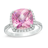 11.0mm Cushion-Cut Lab-Created Pink and White Sapphire Frame Ring in Sterling Silver - Size 7