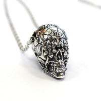 Sugar Skull Necklace in Solid White Bronze with Sterling Silver Plated Overlay - An Exclusive of Moon Raven Designs - 153