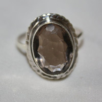 Sterling Ring Smoky Topaz  Vintage 1970s  Engagement Jewelry Sterling Silver