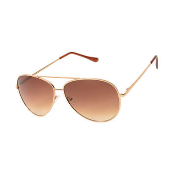 Gold & Rose Lens Aviator Sunglasses
