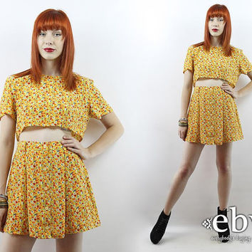 Vintage 90s Yellow Floral Crop Top + Skirt Outfit S M Two Piece Set Two Piece Outfit Separates Cropped Top High Waisted Skirt Matching Set