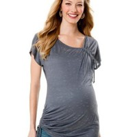 Motherhood Maternity: Short Sleeve Deep V-neck Side Ruched Maternity T Shirt