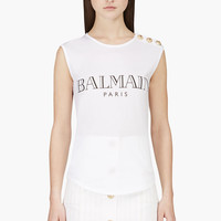 Balmain White Shoulder Placket Logo Tank Top