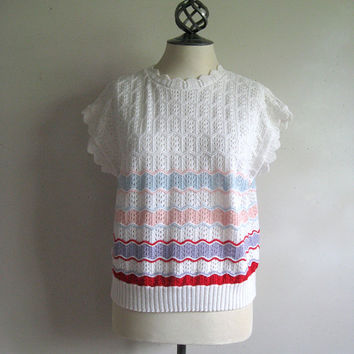 Vintage Crochet 1980s Top White Striped Knitted Vest Top Large