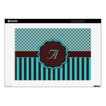 Monogram Tartan, Lt Teal Choc Brown LAPTOP SKIN