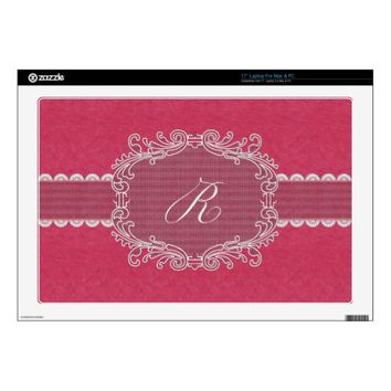 Pink Leather and Lace Monogram Letter R