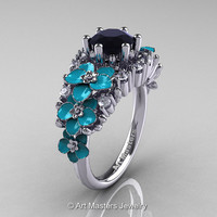 Nature Classic 14K White Gold 1.0 Ct Black and White Diamond Turquoise Orchid Engagement Ring R604-14KWGDTBD