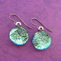 Super Shiney Niobium Earrings for Very Sensitive Ears, Fused Glass Jewelry, Metal Sensitive Jewelry - Destinee - 2346 -4