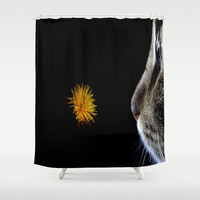 Cat and flower Shower Curtain by  Alexia Miles photography