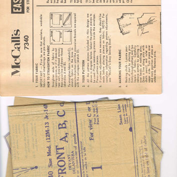 McCalls 7340 - Vintage 1960s Sewing Pattern - Misses' And Junior Shift In Two Lengths Easy To Sew
