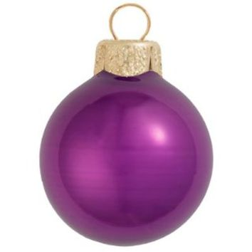"8ct Pearl Soft Plum Purple Glass Ball Christmas Oranmens 3.25"" (80mm)"