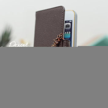apple iPhone 5 case , iPhone 5s case PV leather case with brown beads and Swarovski crystals .