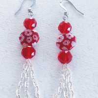 Chain dangle earrings with red Murano glass and red crystals