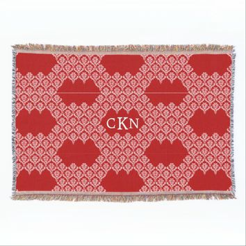 Red White Monogram Throw Blanket