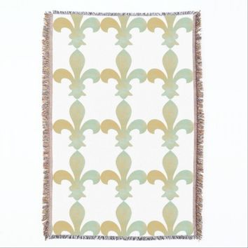Aqua Gold French Fleur de Lis Throw Blanket