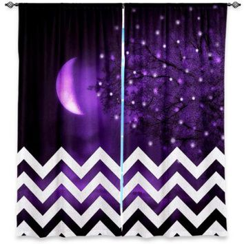 Window Curtains Unlined from DiaNoche Designs Artistic, Stylish, Unique, Decorative, Fun, Funky, Cool by - Monika Strigel Purple Moon Chevron