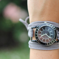 $20.00 Gray Suede Bracelet Watch with Black Inspirational Face by meggieslove
