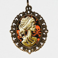 Lolita Skeleton Necklace, Gothic, Steampunk, Oval Pendant