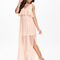 FRANCESCA DRESS - Nude Maxi chiffon dress