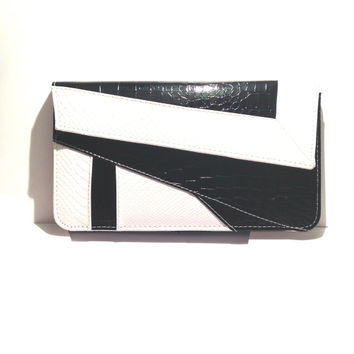 The Monochrome Croc Clutch