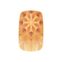 Abstract Orange Kaleidoscope Flower Nail Art