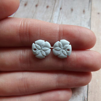Tiny Light Blue Sanddollar Earrings Sand Dollar Studs Beach Summer Inspired Earrings Pastel Blue Under 20