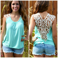 Stony Brook Mint Crochet Back Top
