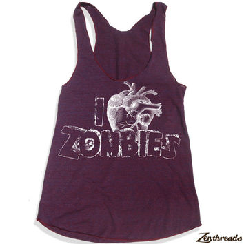 Womens I Heart ZOMBIES american apparel Tri-Blend Racerback Tank Top S M L (9 Color Options)