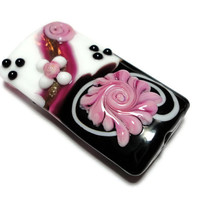 Kalera Bead Black White Pink Lampwork Glass Rose Jewelry Design Focal Rectangle