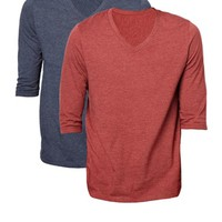 ASOS 3/4 Sleeve T-Shirt With V Neck 2 Pack Navy Marl/Oxblood Marl SAVE 12.5% at asos.com