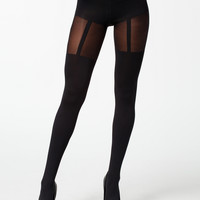 FASHION SUSPENDER TIGHTS - black tights