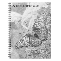 Painted Lady Butterfly Sketch Effect Lined Notebook