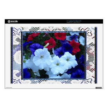 Patriotic Petunias and Lace Vinyl Laptop Skin