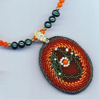 Orange Gemstone Floral Necklace . Beadwoven Carnelian . Coral & Genuine Pearls Pendant . OOAK - Tangerine Tango by enchantedbeads on Etsy
