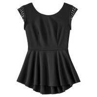 Junior's Strapless Studded Shoulder Peplum Top