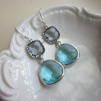 Silver Charcoal Gray Earrings Aquamarine Earrings Blue Two Tier - Bridesmaid Earrings - Bridal Earri | Luulla