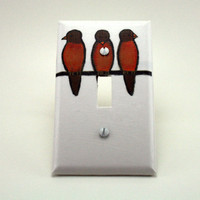 Children's Book Light Switch Cover  Birds by ColorMeFabricbyNikki