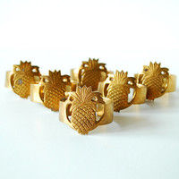 Vintage Brass Pineapple Napkin Rings - Set of 6