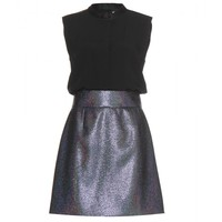 Crepe dress with woven metallic skirt