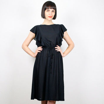 Vintage 70s Dress Black Dress Ruffle Flutter Sleeve Midi Dress Disco Dress 1970s Dress Knee Length Slouch Top Sundress S  Small M Medium L