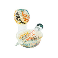 Handblown Glass Dab Kit with Dome Bowl, Wand, and Dish - Assorted Colors