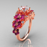 Nature Classic 18K Rose Gold 1.0 Ct White Sapphire Diamond Pink Orchid Engagement Ring R604-18KRGDPWS