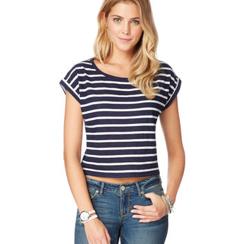 Map to Mars Womens Map to Mars Stripe Boxy Cropped T-Shirt - Blue,
