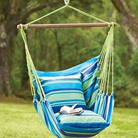 Blue Striped Cotton Hammock Chair Swing
