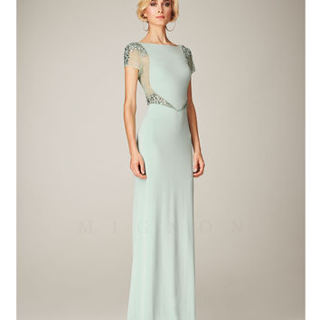 Mignon Spring 2014 Dresses - Mint Bateau Beaded Cap Sleeve Long Prom Dress