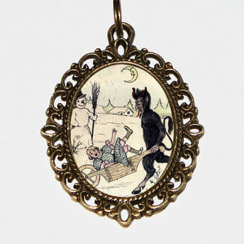 Krampus Necklace Oval Pendant