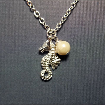 Seahorse Necklace Nautical Necklace Beach Jewelry  Fresh Water Pearl Necklace Silver Necklace Friendship Gift  Teacher Appreciation