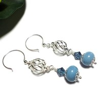 Earrings Glacier Blue Handmade Lampwork Crystal Silver Cage Dangle