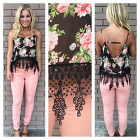 Lady Like Floral Crochet Crop Tank - BLACK