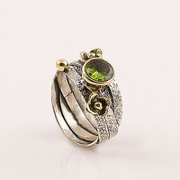 Peridot Sterling Silver Two Tone Ring
